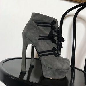 YSL suede platform ankle boots